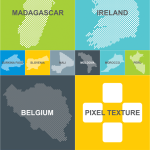 World Countries Pixelated Vector Map